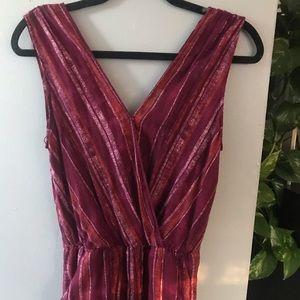 Universal Thread Maroon Stripe Jumpsuit
